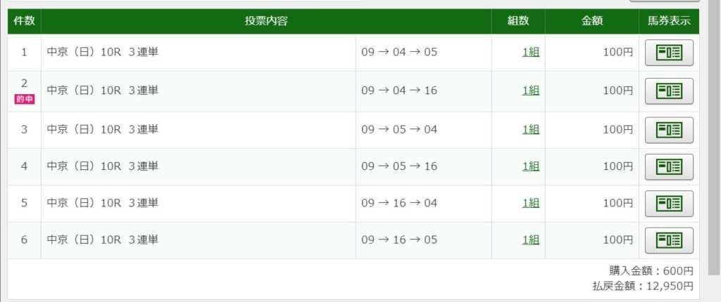 2020年10月4日中京10R12950円3連単6点的中